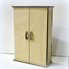 Купить Шкаф для кукольного домика - бежевый, столик из дерева, кукольная мебель, Мебель, мебель для кукол