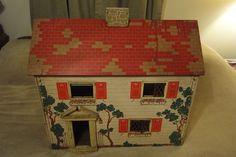 Vintage Keystone Boston Large Antique Doll House with Doll Furniture 1940's?   #Keystone
