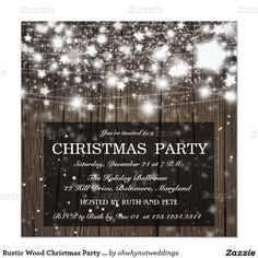 Rustic Wood Christmas Party Shining Stars 5.25x5.25 Square Paper Invitation Card