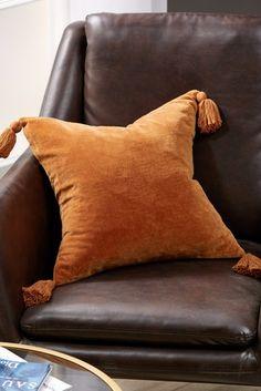 Ginger Velvet Tassel Cushion