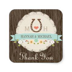TEAL HORSESHOE HEART WESTERN WEDDING THANK YOU STICKERS