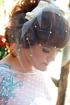 Retro Ivory Tulle Birdcage Wedding Veil with by marialouisebridal, $60.00
