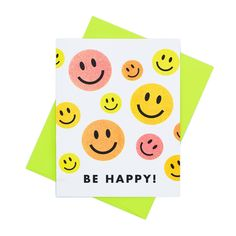 Be Happy! Smiley Face Card - Risograph Greeting Card