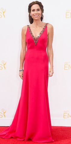 Emmy Awards 2014 Red Carpet Photos - Minnie Driver in a coral gown. #InStyle