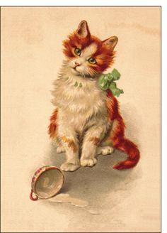 Carte Carte ancienne avec un petit chat pour envoyer par La Poste, sur Merci-Facteur !