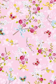 Ilse Blush Cherry Blossom 375072 Brewster Wallpaper Wallpaper 375072 Brewster Wallcoverings Greens Pinks Yellows Butterfly Wallpaper Floral & Plants Wallpaper, Non Woven, Easy to clean , Easy to wash, Easy to strip