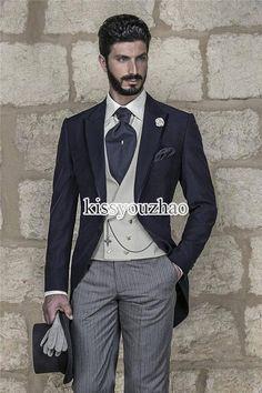 Suit Vest Morning Style Navy Blue Slim Fit Groom Tuxedos Peak Lapel Groomsmen Best Man Mens Wedding Suits Blazer Prom ClothingJacket+Pants+Vest+Tie Tux Tails From Kissyouzhao, $77.91| Dhgate.Com