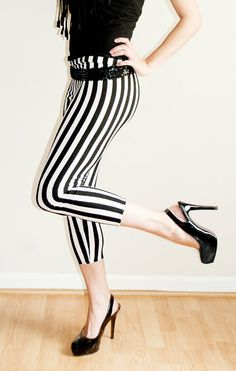 Black and White Vertical Stripe Leggings CUSTOM Made To Your Size. $37.00, via Etsy.