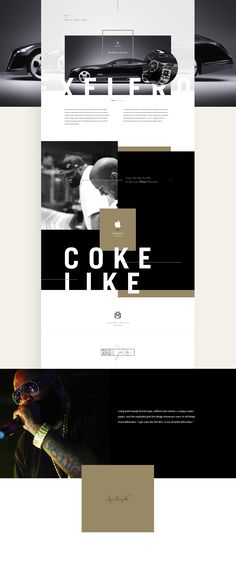 """Using bold heavily kerned type, shifted color blocks, a unique audioplayer, and the exploded grid the design immerses users in all thingsHood Billionaire. """"I got coke like the 80's, in my all whiteMercedes."""" - Rick Ross."""