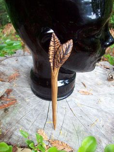 wood hair stick for long hair hand carved by WoodforddellDesigns
