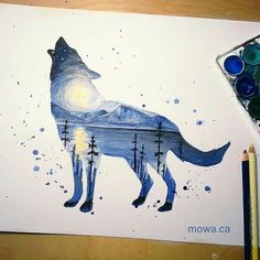 Watercolor double exposure by @_mowa  . 2 more wolf...