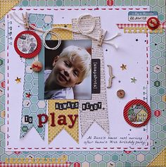 #papercraft #scrapbook #layout. Colorful Memories: Always Ready to Play