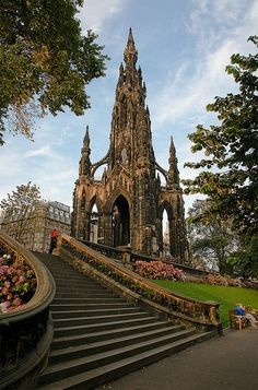 Sir Walter Scott Monument Edinburgh - a Victorian Gothic monument to Scottish author Sir Walter Scott. It is the largest monument to a writer in the world. There are 287 steps to the top of the Scott Monument, from where you can enjoy breathtaking views of Edinburgh and the surrounding countryside. http://www.edinburghmuseums.org.uk/Venues/Scott-Monument