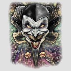 Cool Tshirt Wicked Jester Evil Clown Laugh Dark Joker Dark Gothic Cards Skull