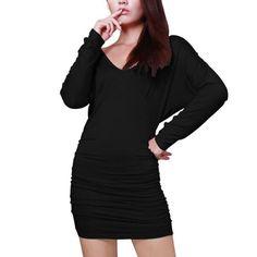 Allegra K Women's Deep V Neck Open Back Fitted Mini Dresses Clubwear Black (Size L / 12)
