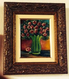 Quadro óleo sobre tela floral - pintado à mão <br>moldura em madeira