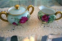 Delinieres Limoges Sugar Bowl & Creamer Set