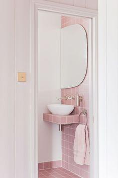 Studio – Pink bathroom look: Tile Giant Victorian Pink tiles and products from Victoria + Albert baths. Pink Bathroom Tiles, Pink Tiles, Bathroom Fixtures, Bathroom Wall, Modern Bathroom, Small Bathroom, Bathroom Ideas, Small Elegant Bathroom, Glamorous Bathroom
