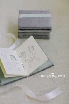 DIY Velvet Program Notebooks  Read more - http://www.stylemepretty.com/2013/09/18/diy-velvet-notebook/