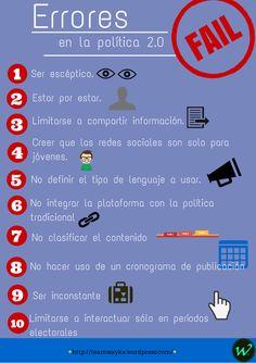 Descubre cuáles son los errores que se cometen en la política 2.0 #RedesSociales #Politica #ciberpolítica