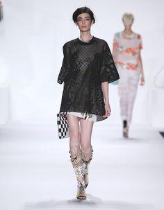 Rebecca Minkoff Look 25: Laser Neoprene Lola Top in Black Casablanca Print Silk Slip