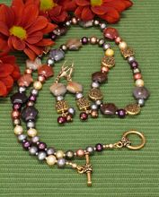Multicolored Jasper and Freshwater Pearl Necklace and Earrings Set