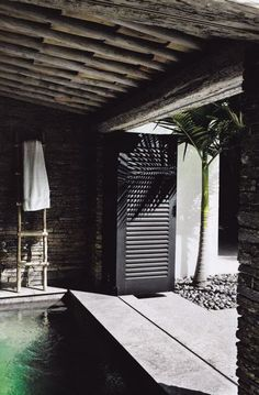 Indoor pool. Love the idea that doors can be open when weather permits.