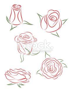 Набор из роз. Векторная иллюстрация. Роялти векторные искусства иллюстрации
