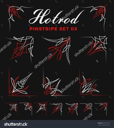 set of vintage pin striping corner line art. include un-expand path. use for vinyl sticker painting template tattoo. Car Pinstriping, Pinstriping Designs, Pinstripe Art, Photoshop Shapes, Line Art Vector, Painting Templates, Car Painting, Sign Painting, Pt Cruiser