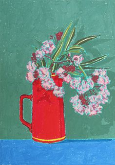 "Holly Coulis, ""Red Vase,"" oil pastel on paper, 2010, 11.7 x 16.5 inches"