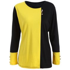 18.66$  Buy here - http://diuti.justgood.pw/go.php?t=203543610 - Plus Size Panel T-Shirt with Buttons 18.66$