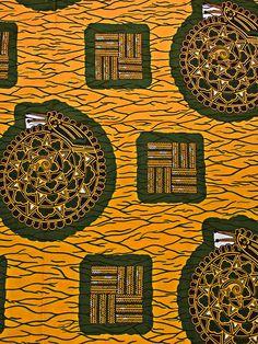 Pagne ankara de cire tissu africain motif géométrique doré 6 yards rw1502