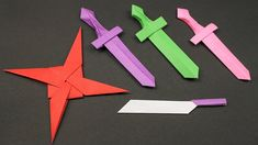 Knife - How to Make Ninja star.Knife Step by Step - Easy Origami Paper Ninja star.Knife – How to Make Ninja star.Knife Step by Step. Origami Sword, Instruções Origami, Origami Simple, Easy Origami For Kids, Dollar Origami, Origami Dragon, Origami Love, Paper Crafts Origami, Useful Origami