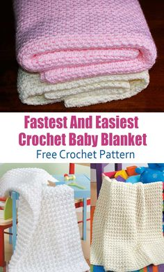 The Fastest And Easiest Crochet Baby Blanket You'll Ever Make! – About Crochet! Babydecke The Fastest And Easiest Crochet Baby Blanket You'll Ever Make! Crochet Baby Blanket Free Pattern, Crochet Baby Blanket Beginner, Easy Baby Blanket, Free Easy Crochet Patterns, Easy Crochet Stitches, Knitting Patterns, Sewing Patterns, Crochet Afghans, Crocheted Baby Blankets