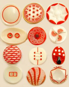 Vintage Red and Cream Glass Buttons ~ the patterns and colors are so whimsically divine!
