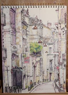 'Bordeaux street' by Teresa How. Pencil, pen and water-colour pencil sketch 8 3/4 inches x 11 1/2 inches