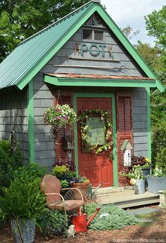 It's been a busy and fun week of planting and puttering around the Potting Shed for me. While my shop days are behind me, but I was tickled to find a Potting Shed Garden Shop Si… Oahu, Shed Landscaping, Shed Signs, Storage Shed Plans, Rv Storage, Potting Sheds, Potting Benches, She Sheds, Diy Shed