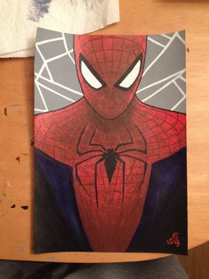 Spider-man painting. A4, in acrylic. Based on the amazing Spider-Man poster.