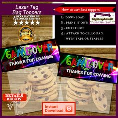 Laser Tag Bag Toppers Laser Tag Party Favors by DigiGraphics4u #laser #tag #birthday #party #favors #toppers #treat