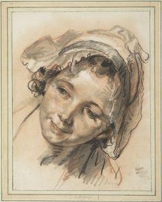 Jean-Baptiste Greuze Head of Smiling Girl, ca 1765 Albertina Vienna