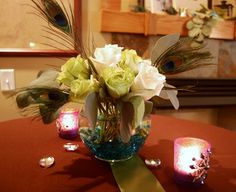 Simple Peacock Centerpieces | My good friend Deb, who is a genius with flowers helped me make ...