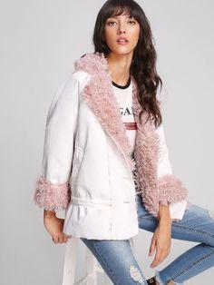 d368a7dc35 Shop Faux Fur Shearling Jacket online. SheIn offers Faux Fur Shearling  Jacket & more to