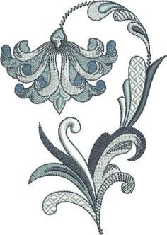 French Blue Fleur De Lis Flower embroidery design