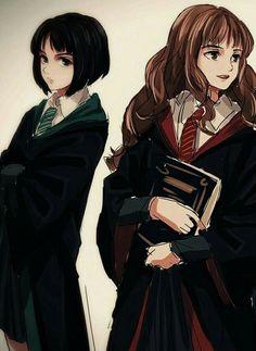 Harry Potter Anime, Harry Potter Fan Art, Pansy Harry Potter, Images Harry Potter, Harry Potter Drawings, Harry Potter Ships, Harry Potter Universal, Harry Potter Fandom, Harry Potter Characters