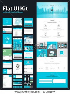 One page website design template. All in one set for website design that includes one page website templates, flat UI kit for web and mobile UI design, and flat design concept illustrations.