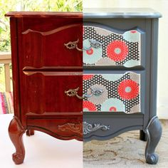 Grab some paint and fabric and turn a roadside rescue into a funky little nightstand! All the dents and scratches on the drawers were covered with the fabric. W…