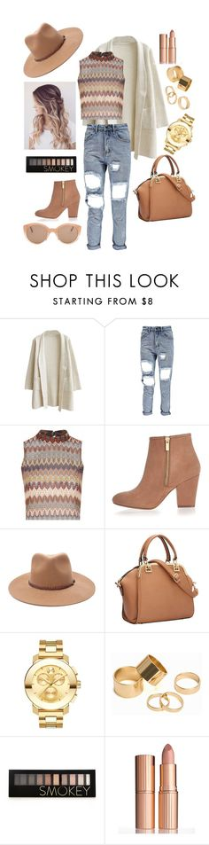 """""""#autumn's collection"""" by sunfreckle ❤ liked on Polyvore featuring Glamorous, River Island, Forever 21, Movado, Pieces, Charlotte Tilbury and Illesteva"""