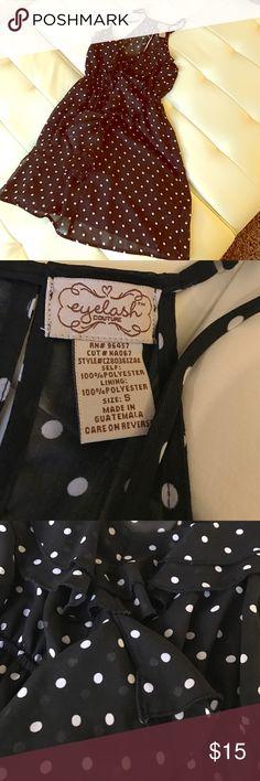 Polka dot ruffle dress Polka dot mini dress with ruffle detailing down the front. Barely worn. eyelash couture Dresses