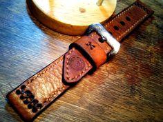 24mm Vintage Ammo Swiss Handmade Leather Watch Strap Army Panerai   eBay