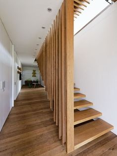 A double volume, timber screen wall leads down to the lower level. - love the handrail